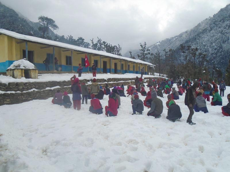 Students during assembly at Saraswati Basic School, Dhamkane in Badimalika Municipality-7, Bajura district, on Friday, December 20, 2019. Photo: Prakash Singh/THT