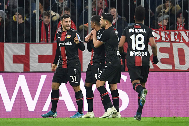 Bayer Leverkusen's Leon Bailey celebrates scoring their second goal. Photo: Reuters