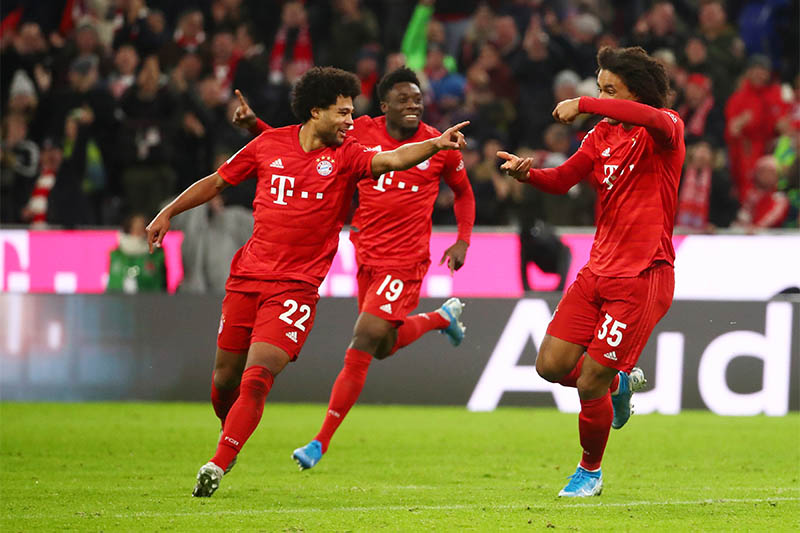 Bayern Munich's Serge Gnabry celebrates scoring their second goal. Photo: Reuters