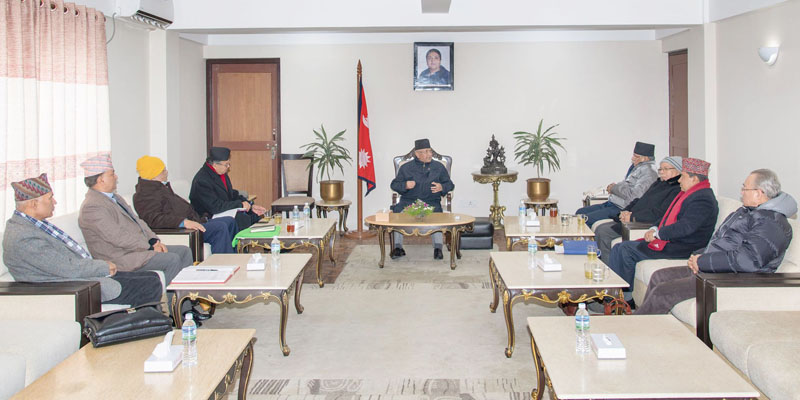 Prime Minister KP Sharma Oli during the party secretariat meeting held at his official residence in Baluwatar Kathmandu, on Sunday, December 15, 2019. Photo: RSS
