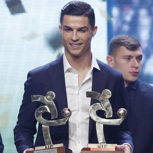 Juventus' Cristiano Ronaldo poses with the trophyes for best Italian Serie A player, during the Gran Gala' soccer awards ceremony, in Milan, Italy, Monday, December 2, 2019. Photo: AP