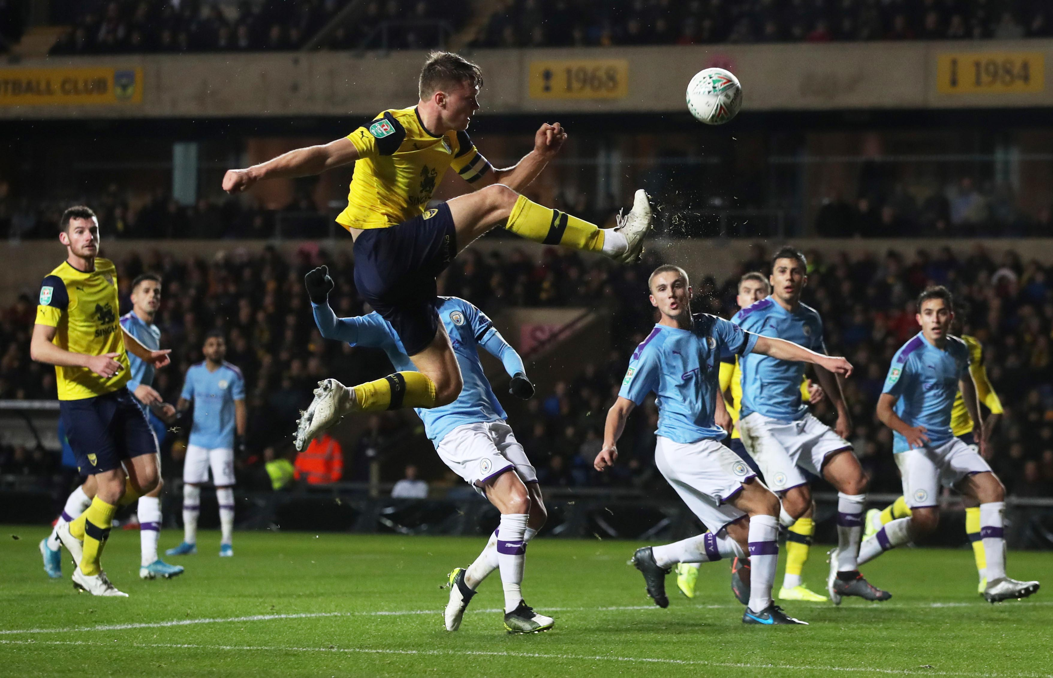 Oxford United's Robert Dickie in action during the Carabao Cup Quarter Final match between Oxford United and Manchester City, at Kassam Stadium, in Oxford, Britain, on December 18, 2019. Photo: Reuters