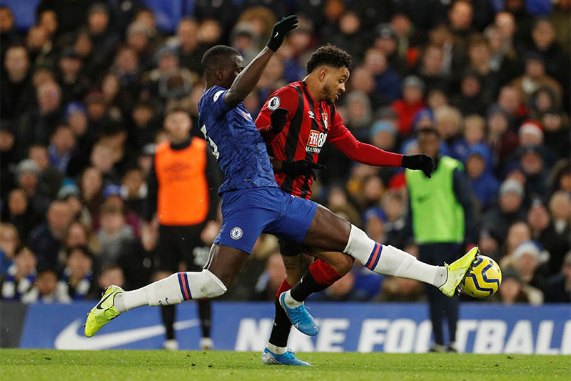 Bournemouth's Joshua King in action with Chelsea's Kurt Zouma. Photo: Reuters