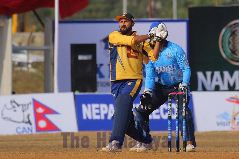 Chitwan Rhinosu2019 Sunny Patel plays a shot against Expert Dhangadhi Blues during their Namaste Pokhara Premier League match at the Pokhara Stadium, on Friday, December 20, 2019. Photo: THT