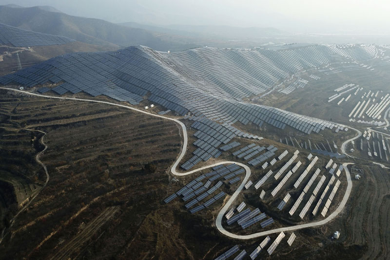 A solar panel installation is seen in Ruicheng County in central China's Shanxi Province, Nov 28, 2019. Photo: AP
