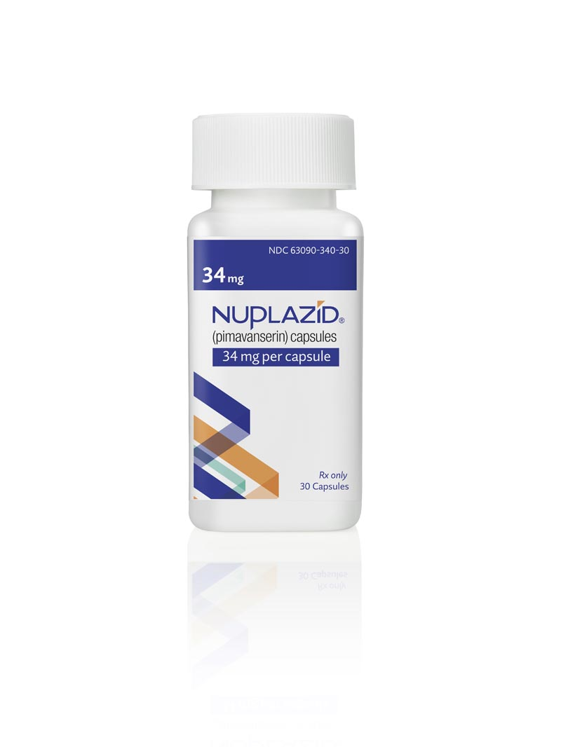 This undated photo provided by Acadia Pharmaceuticals Inc. shows a bottle of Nuplazid, a drug that was tested for treating psychosis related to dementia. If regulators agree, the drug could become the first treatment specifically for dementia-related psychosis and the first new medicine for Alzheimer's in nearly two decades. Results from a study on the drug were disclosed Wednesday, Dec. 4, 2019, at an Alzheimer's conference in San Diego.  Photo: AP