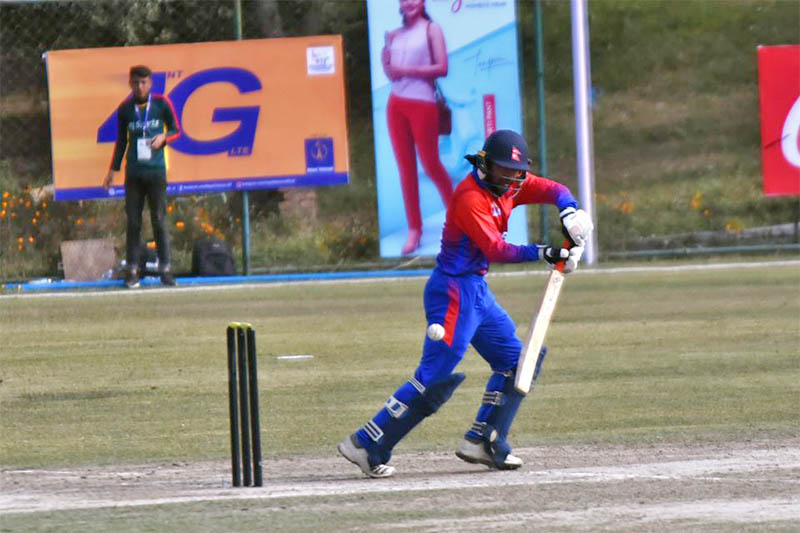 Nepal's middle order batsman Dipendra Singh Airee bats against the Maldives during the 13th South Asian Games in Kathmandu, on Monday, December 09, 2019. Courtesy: 13SAGNepal.com