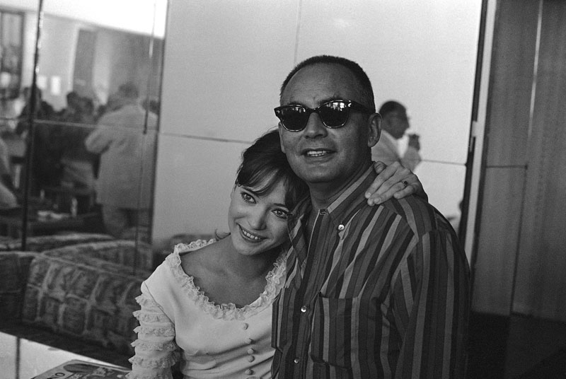 French actress Anna Karina embraces Italian producer Dino De Laurentiis at the end of a press conference on the Venice Lido on the French entry in the International Film Festival, Aug 29 1965. Photo: AP/File