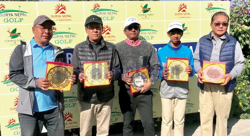 (From left) Babu Sherpa, Tendi Sherpa, Joseph Nathan, Sadbhav Acharya and Maj Gen Daman Bahadur Ghale after the eighth edition of the Surya Nepal Gokarna Monthly Medal in Kathmandu on Saturday, December 7, 2019. Photo: THT