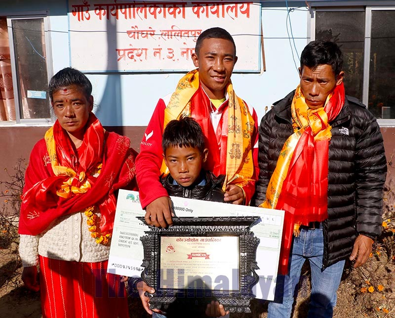 Golfer Subash Tamang poses with parents and brother, on Tuesday, December 17, 2019. Photo: THT