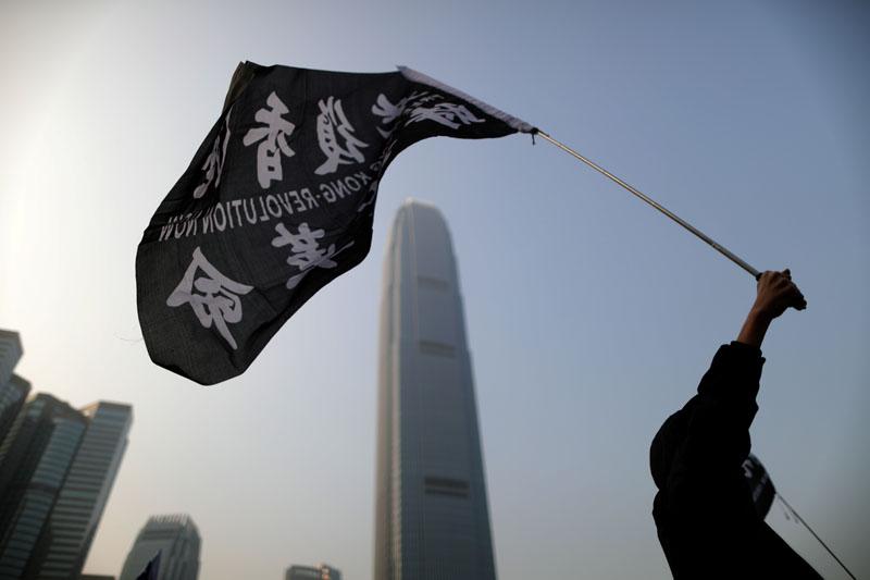 Hong Kong protesters rally in support of the human rights of Xinjiang Uighurs in Hong Kong, China, December 22, 2019. Photo: Reuters