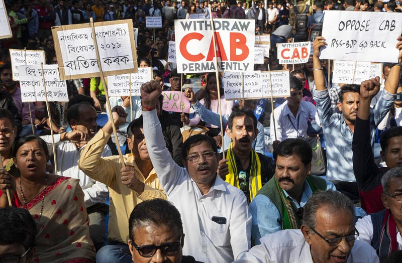 Indian students and activists shout slogans during a protest against the Citizenship Amendment Bill (CAB) in Gauhati, India, Friday, December 6, 2019. Photo: AP