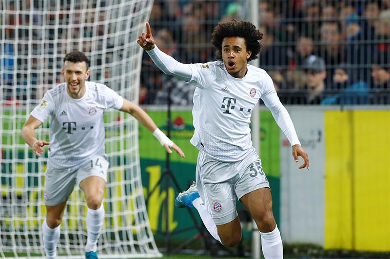 Bayern Munich's Joshua Zirkzee celebrates scoring their second goal. Photo: Reuters