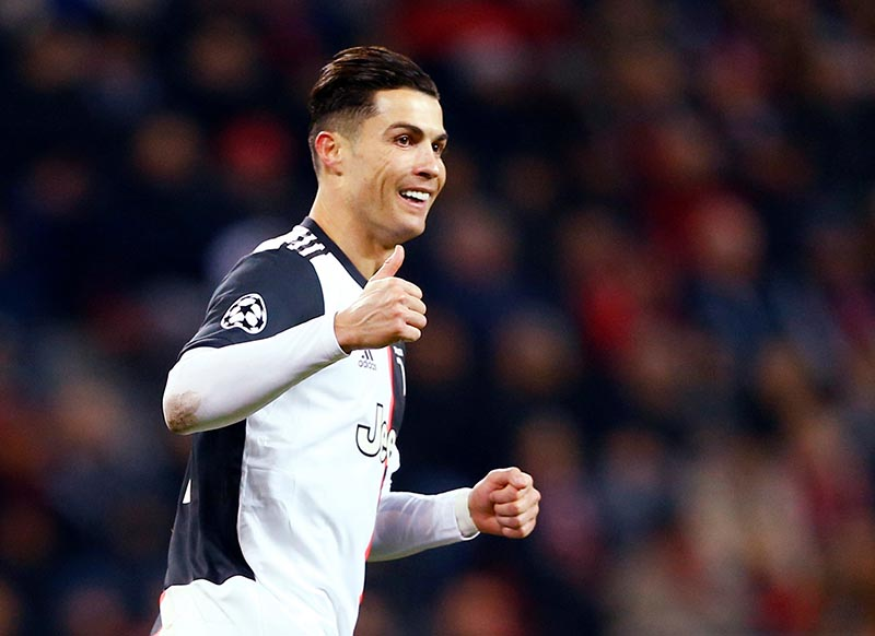 Juventus' Cristiano Ronaldo reacts during the Champions League Group D match between Bayer Leverkusen and Juventus, at BayArena, in Leverkusen, Germany, on December 11, 2019. Photo: Reuters