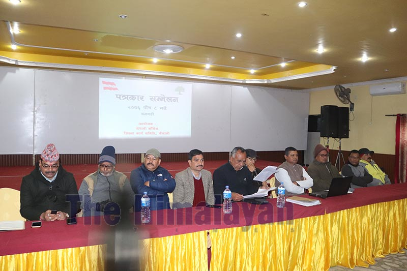 Participants at the press conference organised by Nepali Congress, Kailali, to make public the report on irregularities and corruption in local levels of Kailali district, on Tuesday, December 24, 2019. Photo: Tekendra Deuba/THT