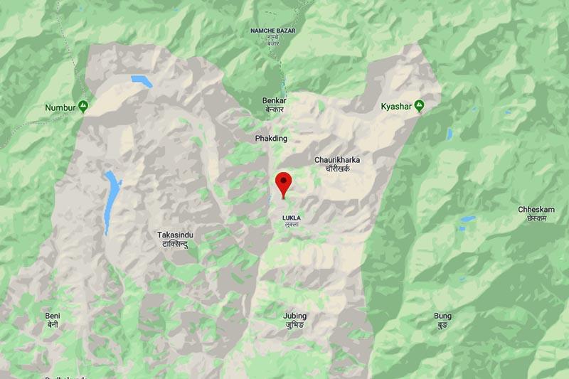 This image shows Chaurikharka area in Khumbu Pasang Lhamu Rural Municipality of Solukhumbu district. Image: Google Maps