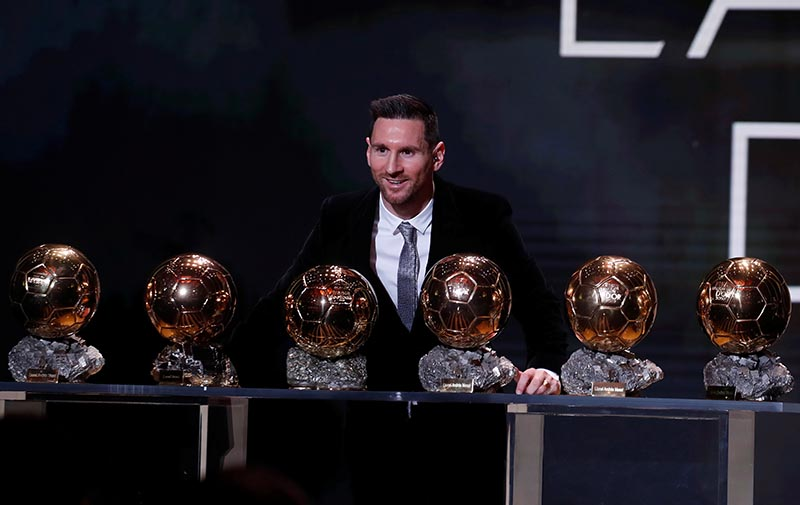 Barcelona's Lionel Messi with his six Ballon d'Or trophies during the The Ballon du2019Or awards, at Theatre du Chatelet, in Paris, France, on December 2, 2019. Photo: Reuters
