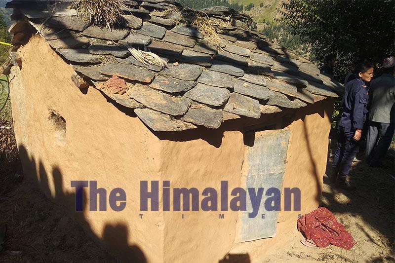 The hut where 21-year-old Parwati Budha Rawat died during her monthly cycle, in Siddeshwar of Sanfebagar Municipality-3, Achham district, as seen on December 02, 2019. Photo: Prakash Singh/THT