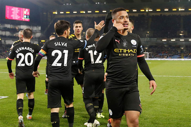 Manchester City's Gabriel Jesus celebrates scoring their second goal. Photo: Reuters
