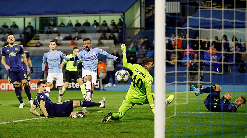 Manchester City's Gabriel Jesus scores their second goal during the Champions League Group C match between GNK Dinamo Zagreb and Manchester City, at Stadion Maksimir, in Zagreb, Croatia, on December 11, 2019. Photo: Action Images via Reuters