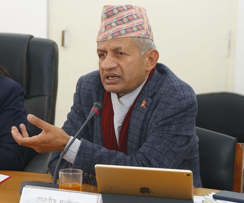Minister for Foreign Affairs Pradeep Kumar Gyawali speaks at a meeting of the National Assemblyu2019s National Concern and Coordination Committee to discuss the Millennium Challenge Corporation Compact Programme, in Singha Durbar, Kathmandu, on Thursday, December 26, 2019. Photo: RSS