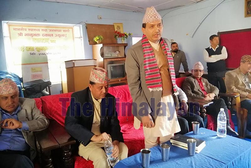 Minister of Health and Population Bhanubhakta Dhakal speaking at a programme organised in Biratnagar, Morang, on Wednesday. Photo: THT