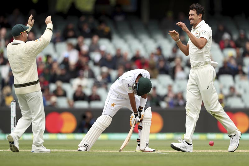 Australia's David Warner and Mitchell Starc celebrate the wicket of Pakistan's Babar Azam during their cricket test match in Adelaide, Sunday, December 1, 2019. Photo:AP