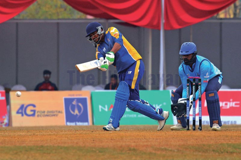 Kathmandu Golden Warriors skipper Gyanendra Malla plays a shot against Dhangadhi Blues during their Namaste Pokhara Premier League match at the Pokhara Stadium on Wednesday, December 18, 2019. Photo: THT