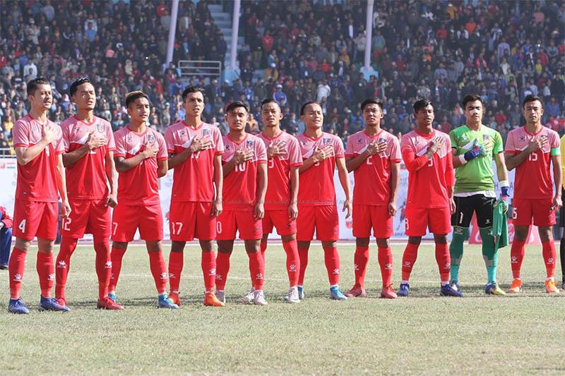 Nepal men's national football team players sing national anthem prior to their game against Bangladesh at the Dashrath Stadium, in Kathmandu, on Friday, December 08, 2019. Courtesy: ANFA/Facebook