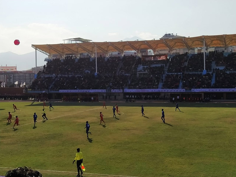 The ongoing football match between Nepal and the Maldives under the 13th South Asian Games (SAG), at Dashrath Stadium, in Kathmandu, on Saturday, December 7, 2019. Photo Courtesy: Sachin Joshi