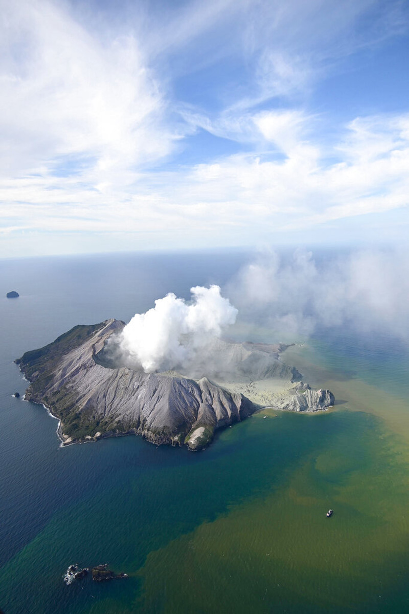 This aerial photo shows White Island after its volcanic eruption in New Zealand Monday, December 9, 2019. Photo: AP