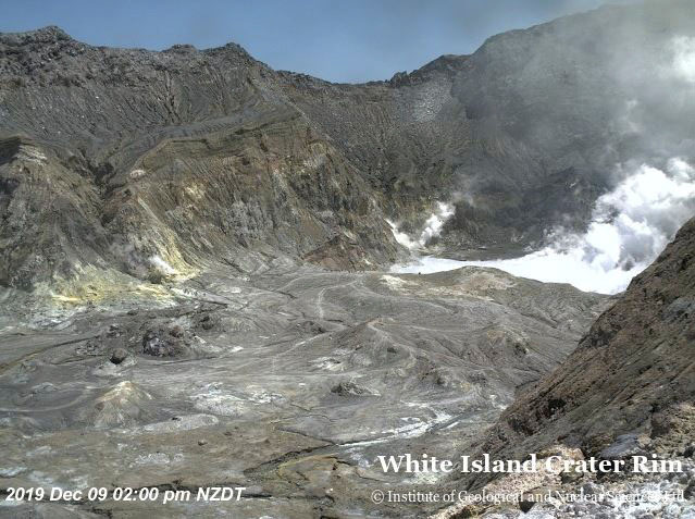 An aerial view shows the crater rim of Whakaari, also known as White Island, shortly before the volcano erupted in New Zealand, December 9, 2019, in this image obtained via social media. Photo: GNS Science via Reuters