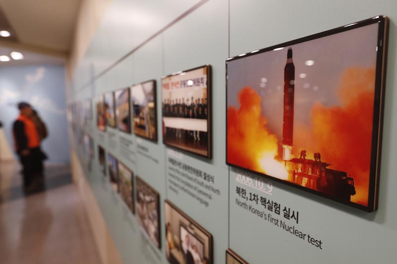 In this Friday, December 13, 2019, photo, an image showing North Korea's missile launch is displayed at the Unification Observation Post in Paju, South Korea, near the border with North Korea. Photo: AP