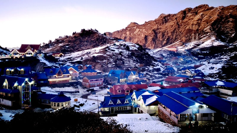 Evening view of snow-covered Kuri market, Kalinchok, a touristic destination located in Dolakha district, as seen on Friday, December 27, 2019. Photo: RSS