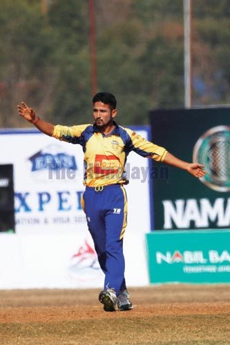 Chitwan Rhinosu2019 Bhuvan Karki celebrates a wicket against Biratnagar Titans during their Namaste PPL match in Pokhara on Sunday, December 22, 2019. Photo: THT