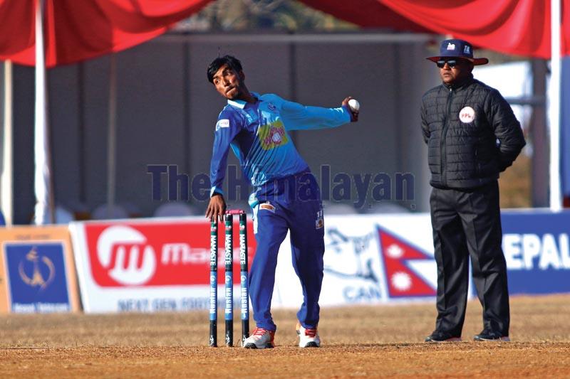 Biratnagar Titansu2019 Shahab Alam bowls against Butwal Blasters during their Namaste Pokhara Premier League eliminator match at the Pokhara Stadium in Kaski on Thursday, December 26, 2019. Photo: THT