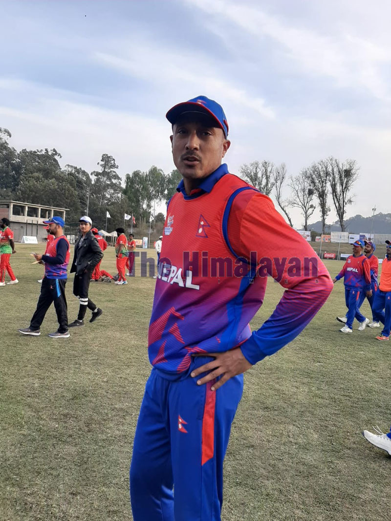 Former captain Paras Khadka looks on during the cricket match between Nepal and the Maldives held at Tribhuvan University stadium in Kirtipur on Friday, December 6, 2019. Photo: Nishant Pokhrel/THT Onliner
