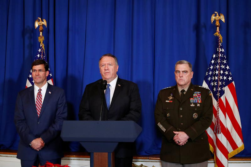 US Secretary of State Mike Pompeo speaks about airstrikes by the US military in Iraq and Syria, at the Mar-a-Lago resort in Palm Beach, Florida, US, December 29, 2019. Photo: Reuters