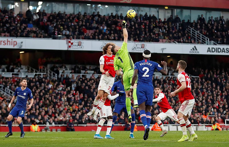 Arsenal's Bernd Leno in action before Jorginho scored Chelsea's first goal during the Premier League match between Arsenal and Chelsea, at Emirates Stadium, in London, Britain, on December 29, 2019. Photo: Action Images via Reuters