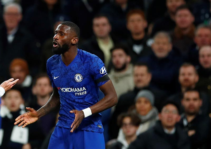Chelsea's Antonio Rudiger reacts as Tottenham fans look on during the Premier League match between Tottenham Hotspur and Chelsea, at Tottenham Hotspur Stadium, in London, Britain, on December 22, 2019. Photo: Reuters