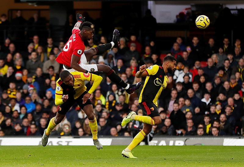 Manchester United's Paul Pogba in action during the Premier League match  between Watford and Manchester United, at Vicarage Road, in Watford, Britain, on December 22, 2019. Photo: Action Images via Reuters