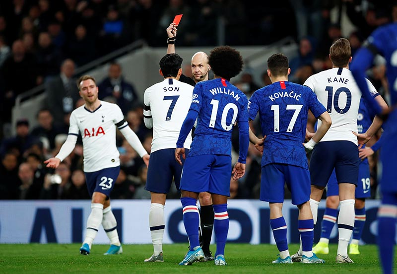 Tottenham Hotspur's Son Heung-min is shown a red card by referee Anthony Taylor during the Premier League match between Tottenham Hotspur and Chelsea, at Tottenham Hotspur Stadium, in London, Britain, on December 22, 2019. Photo: Reuters