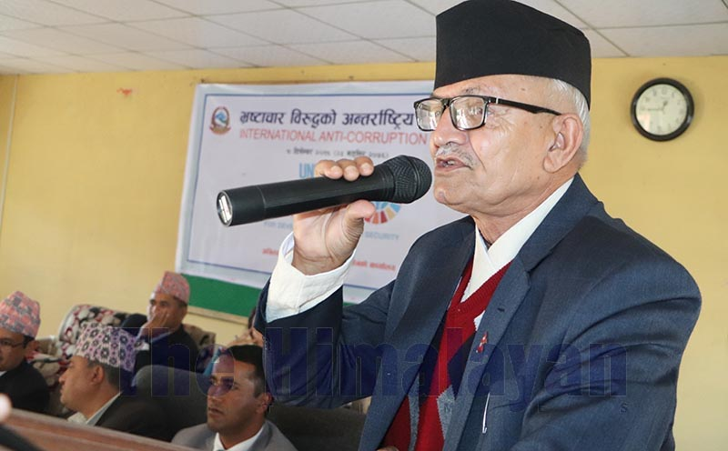 Province 3 Chief Minister Dormani Poudel addressing a programme held to mark International Anti-corruption Day in Hetauda, Makawanpur, on Monday, December 9, 2019. Photo: THT