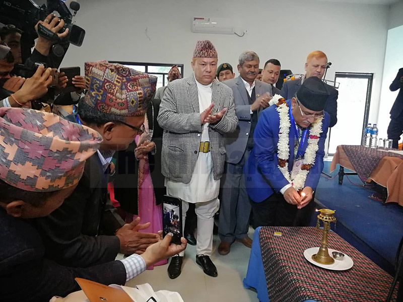 Nepal Communist Party (NCP) Co-chair Pushpa Kamal Dahal inaugurating Sudurpaschim Financial Summit by lighting a lamp, in Dhangadi, on Friday.