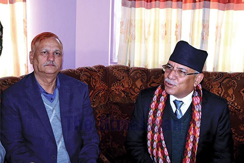 Nepal Communist Party (NCP) C0-chair Pushpa Kamal Dahal talking to journalists in Dhangadi, on Thursday, December 5, 2019. Photo: THT