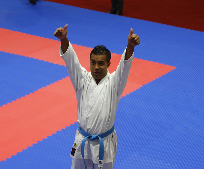 Nepal's Mande Kaji Shrestha after winning a gold medal in the men's individual Kata Category of Karate in the ongoing 13th South Asian Games at Nepal Karate Academy in Satdobato, Lalitpur on Monday, December 2, 2019. Photo: RSS