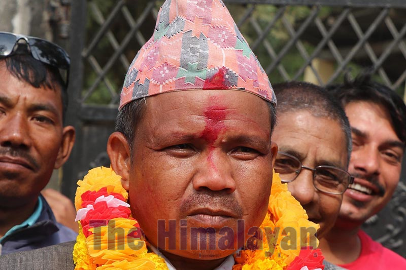 Nepal Communist Party (NCP) candidate Ram Sharan Tharu after winning the by-election of Kohalpur Municipality-6 in Banke district on Sunday, December1, 2019. Photo: Tilak Gaunle/ THT
