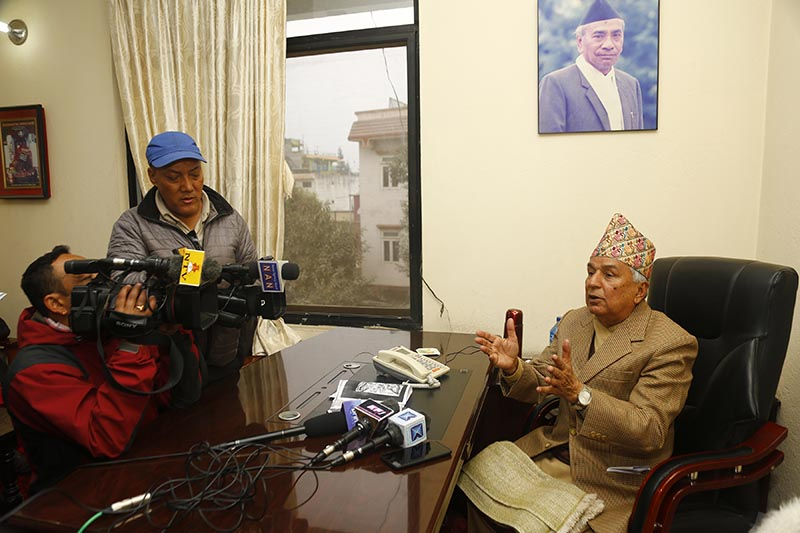Nepali Congress  leader Ramchandra Paudel talking to mediapersons after he boycotted the partyu2019s Central Working Committee meeting at NC Central Office in Sanepa, Lalitpur, on Thursday, December 12, 2019. Paudel boycotted the meet amid differences over devising a calendar for the 14th National Convention of the party and proposal to increase the number of party divisions. Photo: RSS