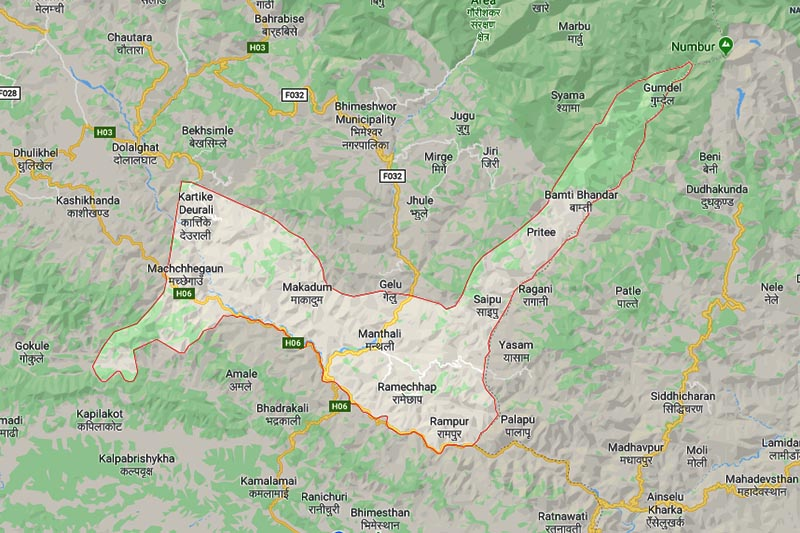 This image shows Ramechhap district in Nepal. Image: Google Maps