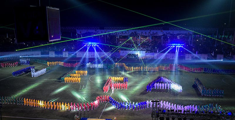 Performers lining up to form the host countryu2019s map  outlining letters NEPAL during the opening ceremony of the 13th South Asian Games n Kathmandu. Photo: Naresh Krishna Shrestha/ THT